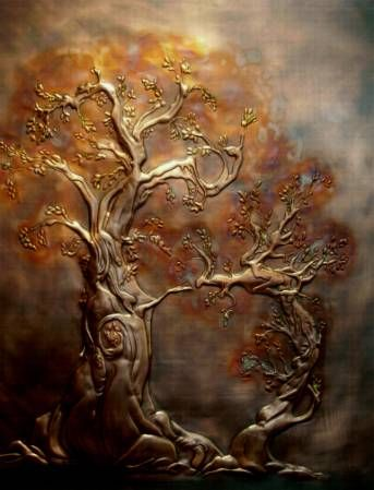 'Woodland Community' by...Katherine Looby, is not a painting, but an amazing piece of copper art. The artist is from Ottawa Ontario, Canada.
