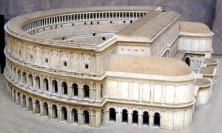 This model shows the Theater of Marcellus, built by Augustus in honor of his deceased nephew and able to seat about 14,000 spectators.