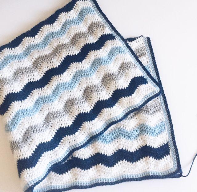 Daisy Farm Crafts: Baby Boy Ripple Blanket - Hobby Lobby Yarn Bee Soft Secret with a size H Hook.
