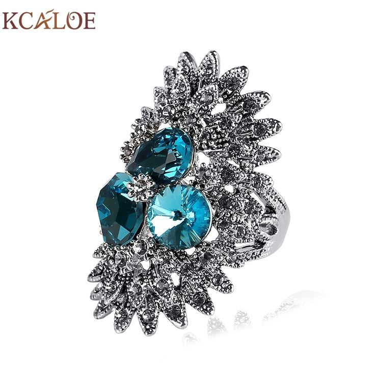 KCALOE Jewelry Vintage Ring Blue /Gray /Pink Crystal Zircon Wedding Engagement Rings Antique Rhinestone Jewelry Bague Femme