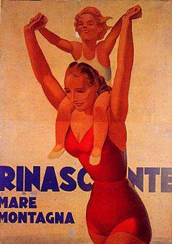 La Rinascente, grandi magazzini - Marcello Dudovich - 1940 - La Rinascente, mare e montagna