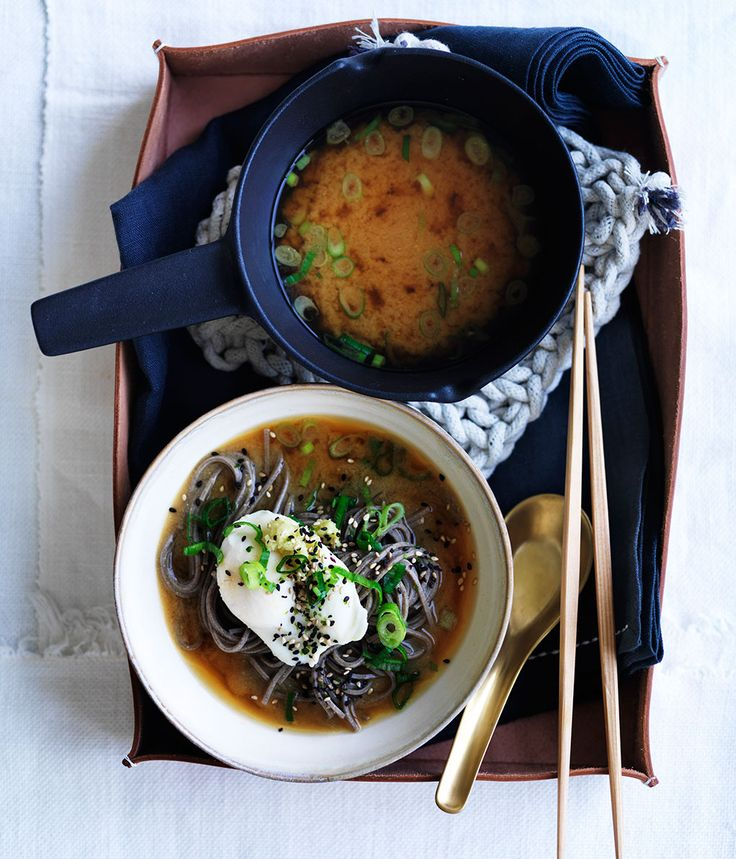 Miso with soba, poached eggs and spring onion :: Gourmet Traveller