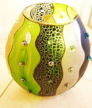 Glasvase, Glasobjekt, handgemalt, Studio Miracle, neu zu kaufen bei www.Art-Glas-else.de