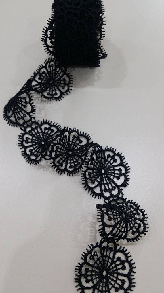 Black lace Trimming French Lace Alencon Lace Bridal gown