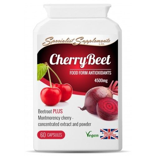CherryBeet combines beetroot powder and extract (10:1), with Montmorency (sour) cherry powder and extract (10:1), to create a concentrated combination formula -4500mgper capsule.    This food supplement is high in bioavailable antioxidants (including anthocyanins), dietary fibre, folic acid, vitamins and non-irritating iron and trace minerals. The nutrients are in natural food state for maximum absorption and utilisation by the body.    These two superfoods are particularly popular with…