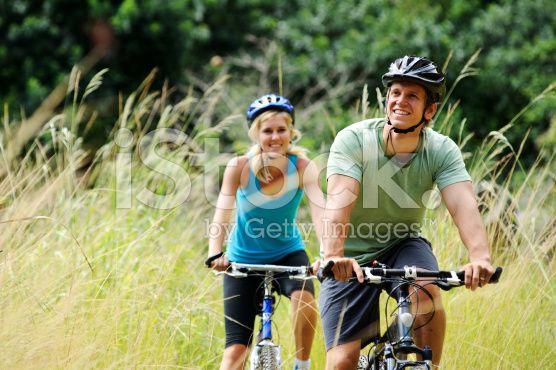 mountainbike couple outdoors royalty-free stock photo