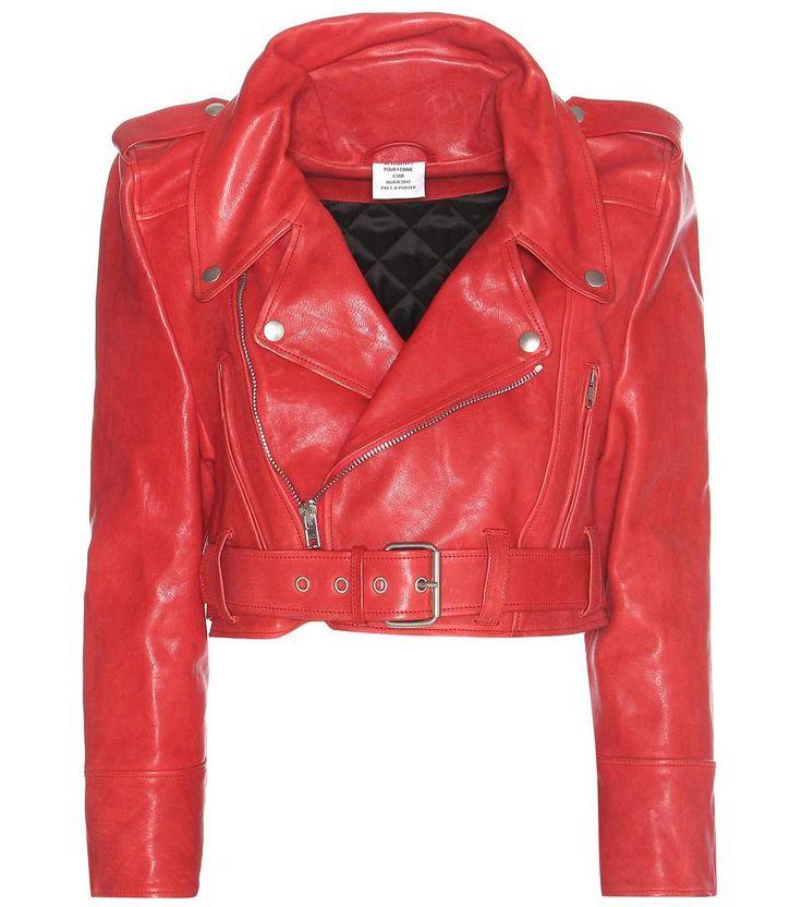 Veste en cuir rouge raccourcie