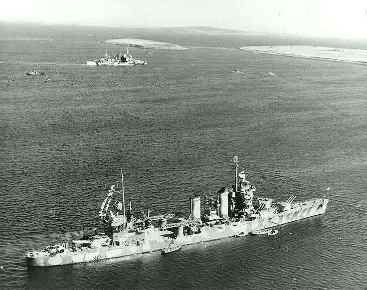 USS Tuscaloosa (CA-37). Moored in Scapa Flow, April 1942, while she was operating with the British Home Fleet. The British heavy cruiser London is in the background. Official U.S. Navy Photograph, now in the collections of the National Archives, 80-G-12018.