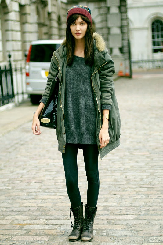Army Green: Big Sweaters, Park, Sweaters Dresses, Street Style, Over Sweaters, Winter Outfits, Coats, Style Fashion, Combat Boots