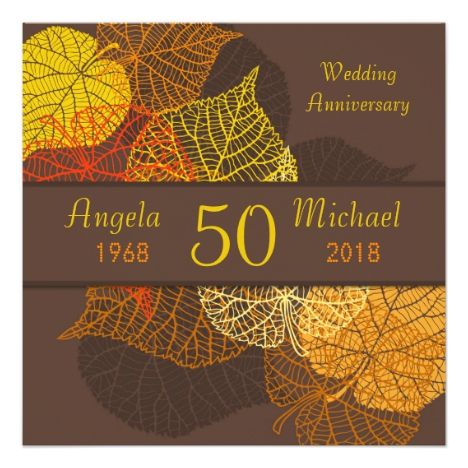 Golden autumnal leaves Wedding Anniversary Card #fallwedding #greetings