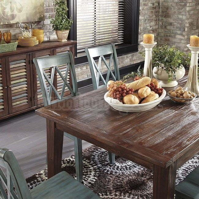 Mestler Dining Table (Brown Pine) and Server/Buffet- Ashley Furniture