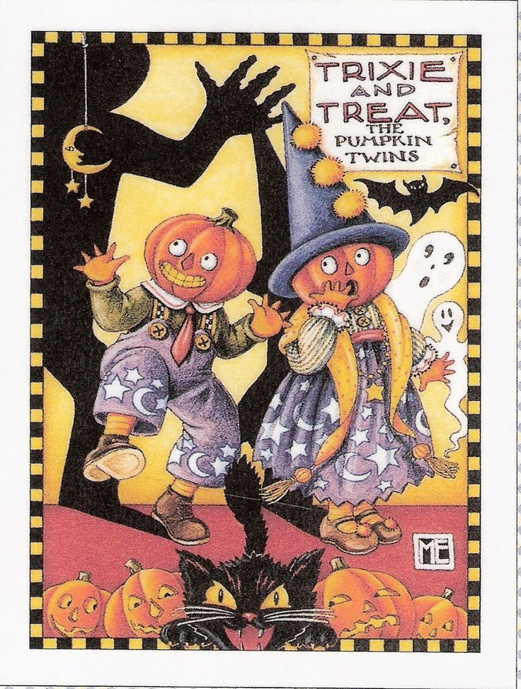 Trixie Treat The Pumpkin Twins Halloween Fridge Magnet Mary Engelbreit Artwork | eBay