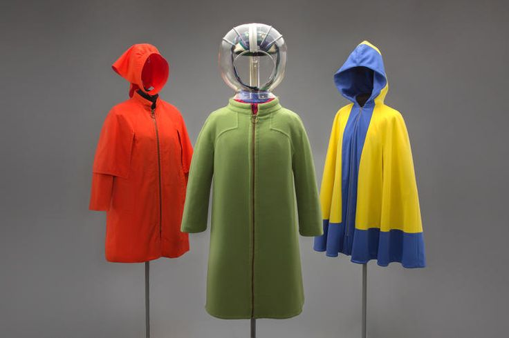 <p>Left to right: Trans World Airlines hostess cape coat and head overing, 1968; Braniff International Airways hostess uniform overcoat, hat scarf,…