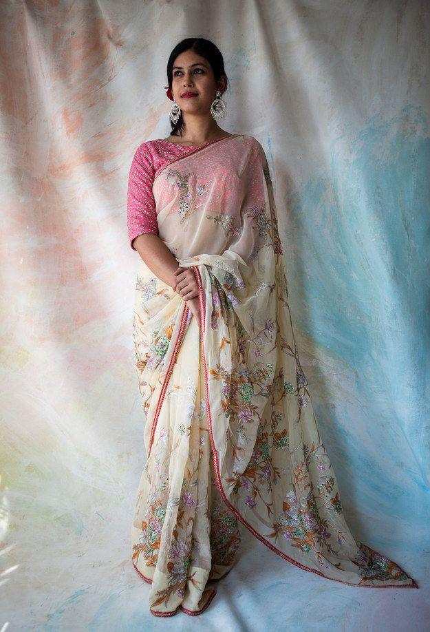 Ankita Kohli, 28, freelance creative consultant wears a sari that belonged to her mother during her college days.