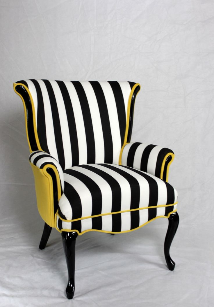 Black and white stripe chair with yellow velvet. Vintage wing back chair mid century modern chair. Element 20 designs More