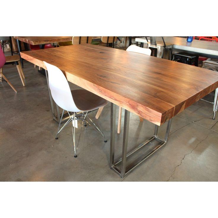 Straight Cut Acacia Natural Wood Table With Double Rectangular Chrome U2013  Wazo Furniture