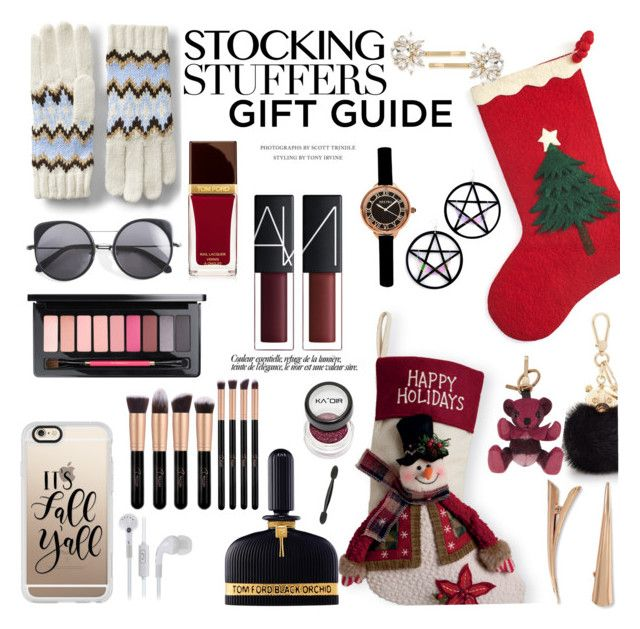 """""""Gift Guide: Stocking Stuffers"""" by louise-frierson ❤ liked on Polyvore featuring Arcadia Home, Casetify, Lands' End, Wood Wood, Marina Fini, Tom Ford, Furla, Burberry, MAC Cosmetics and Johnny Loves Rosie"""