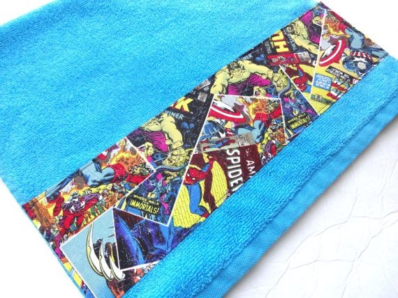 Comic Book Bath towels Comics Iron Man hand towel by AugustAve