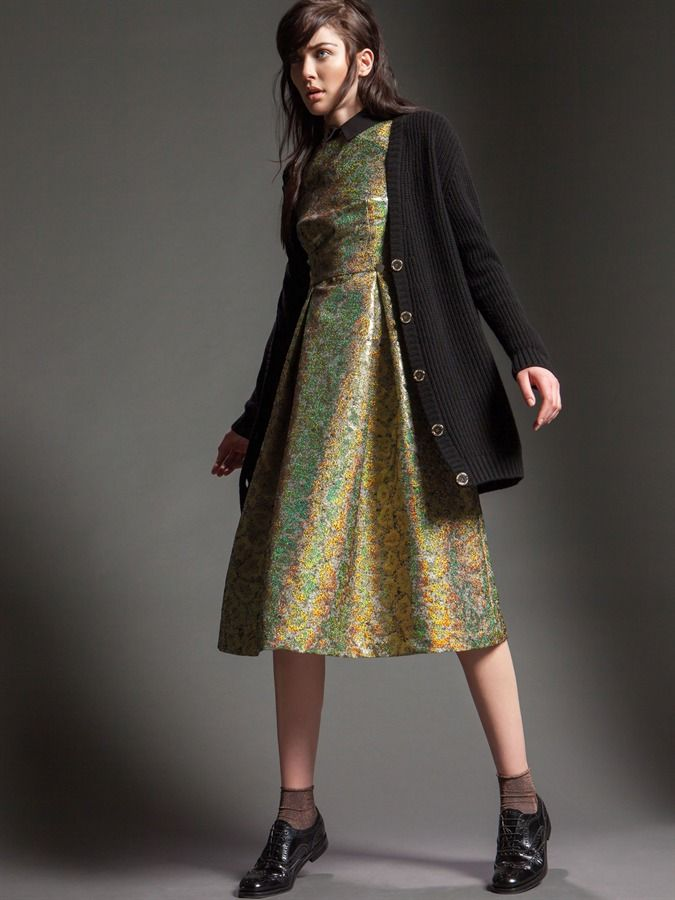 Model wears Naughty Dog FW15 golden lurex jacquard dress and maxi wool cardigan!