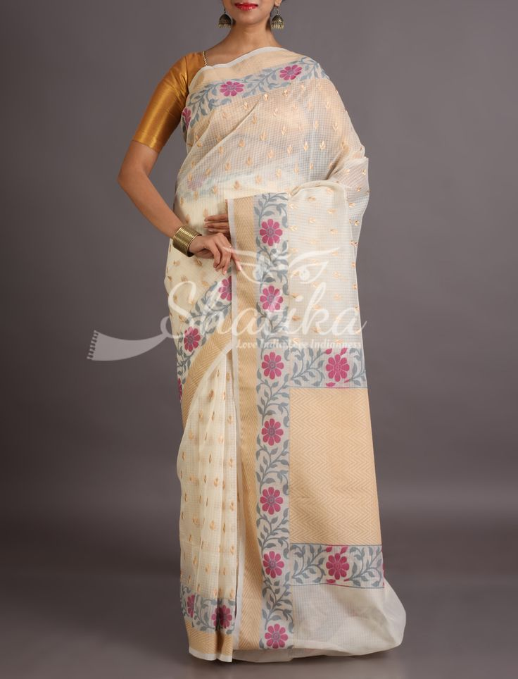 Kapila Golden Bootis With Bel Border Pristine Pure Kota Doria Saree