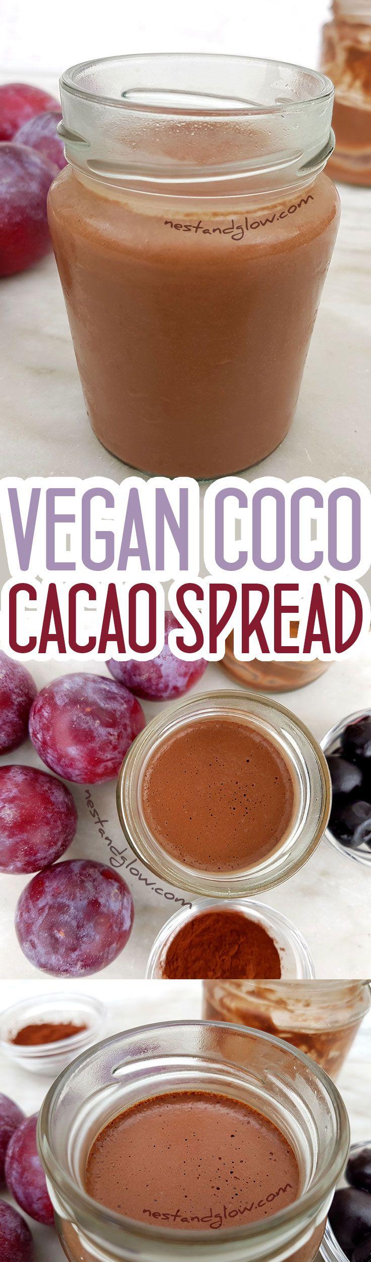 Vegan Coco Cacao Spread - Easy to make dairy free coconut chocolate spread via @nestandglow