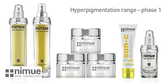 Phase 1 Hyperpigmentation Range Product 1: Cleansing Gel Hyperpigmentation Range Product 2: Conditioner Hyperpigmentation Range Product 3: Day Fader Hyperpigmentation Range Product 4: Night Fader Hyperpigmentation Range Night Cream for severe pigmentation: Night Fader Plus Hyperpigmentation Range Product 5: SPF40 Hyperpigmentation Range Product 6: Exfoliating Enzyme