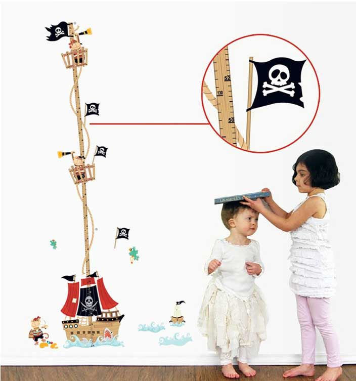 Мультфильм Пиратский корабль высота правитель стены стикеры для детей номеров мальчиков диаграмма роста ростомер съемной виниловые Corsair купить на AliExpress