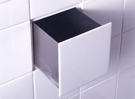 Secrest drawer- ahomestockholm. Hemlig liten låda dold i badrumsväggen- praktisk 'hideaway' för nyfikna små händer...