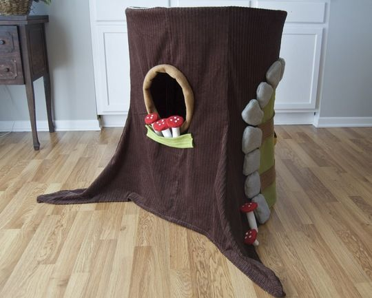 little gnome or pet playhouse out of hula hoop and pvc.  This is GENIUS!!!  I must make this in a year or two.