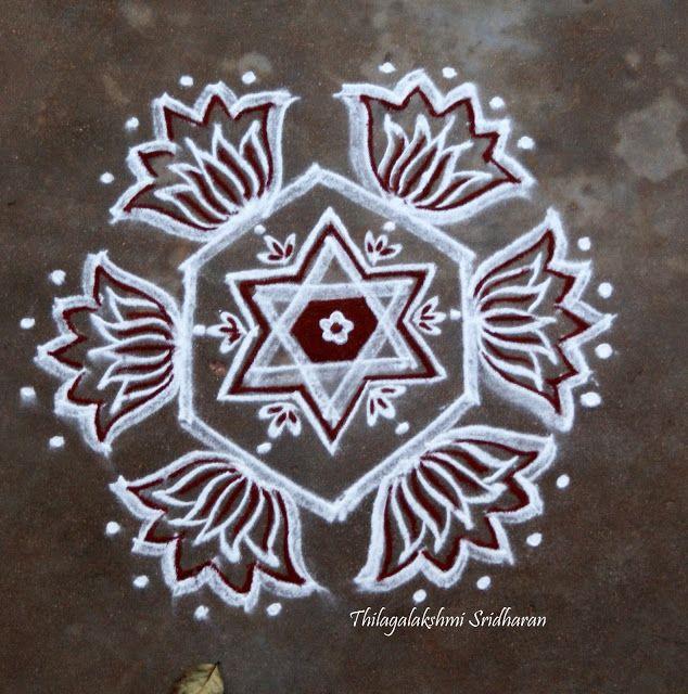 Rangoli and Art Works: FREEHAND STAR N LOTUS KOLAM
