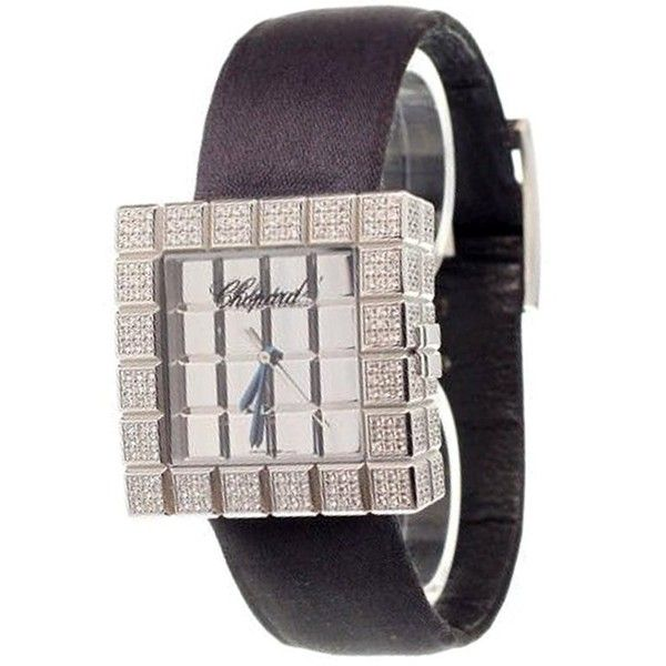 Chopard 'Ice Cube' analog watch ($9,355) ❤ liked on Polyvore featuring jewelry, watches, white, chopard jewelry, analogue watch, white gold watches, chopard jewellery and analog watch