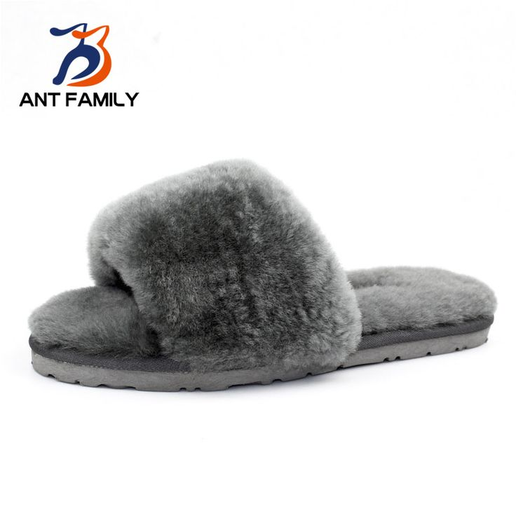 Natural Sheepskin Slippers Fashion Winter Open Toe Women Indoor Slippers Fur Warm High Quality Wool Soft Plush Lady Home Shoe #shoes, #jewelry, #women, #men, #hats, #watches, #belts