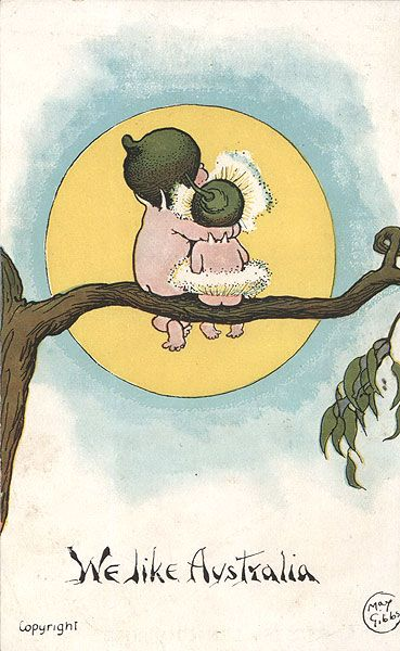 Australian writer May Gibbs and her postcard illustration of gumnut babies found in her Snugglepot and Cuddlepie books.