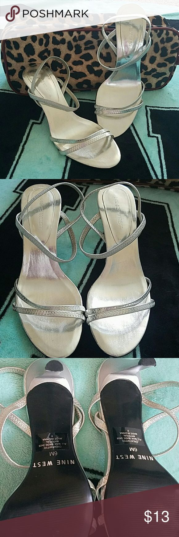 Nine West strappy heel Cute silver metallic strappy heel, worn once, no signs of wear, 3 inch heel, excellent condition Nine West Shoes Heels