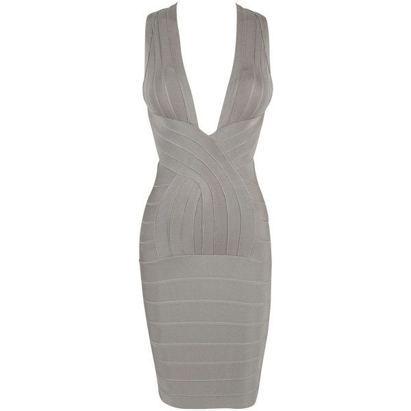 'Vanessa' Grey Deep V Backless Bandage Dress ($169) ❤ liked on Polyvore featuring dresses, grey cocktail dress, gray cocktail dress, gray bandage dress, bandage cocktail dresses and backless dress
