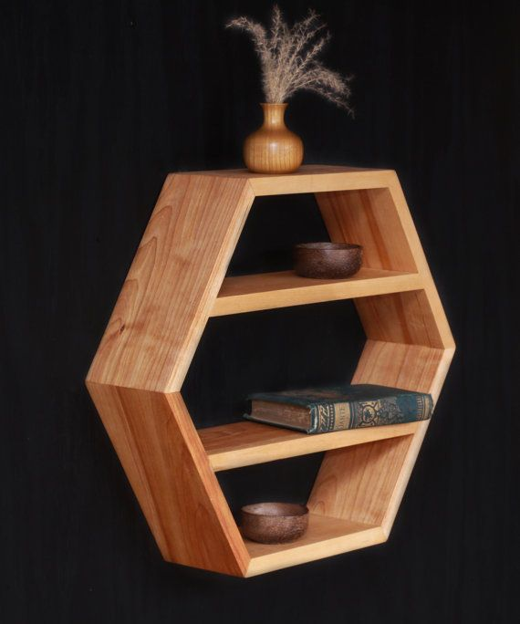 Birch Hardwood Shelf - 18 Multi Shelf Hexagon - Custom Wood Shelf