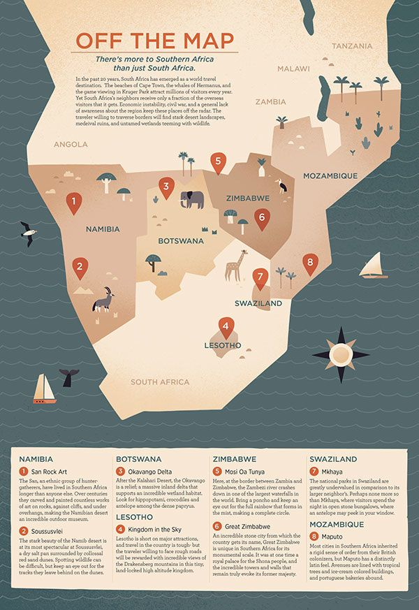 Off the Map - Alexander Vidal Illustration - Southern Africa #map #africa
