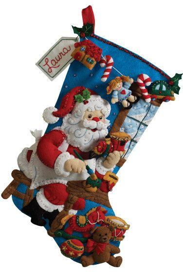 "Santa's Workshop - 18"" Bucilla Felt Appliqued Christmas Stocking by sewsimplyFabulous on Etsy"