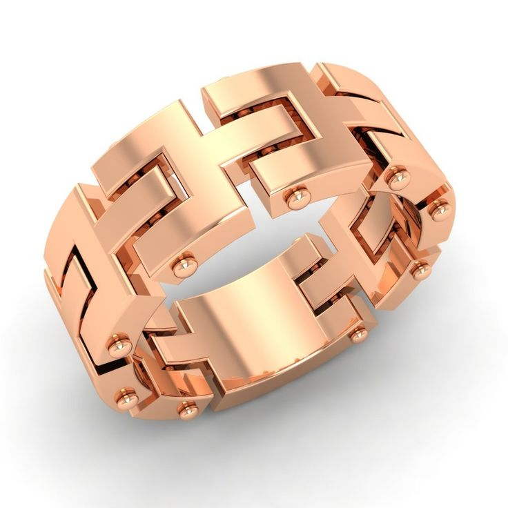 7-mm-Mens-Chain-Link-Wedding-Ring-Band-In-Solid-18k-Rose-Gold-Free-Engraving
