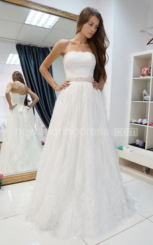 Beautiful Strapless A Line Lace Wedding Dress With Beading on Waist