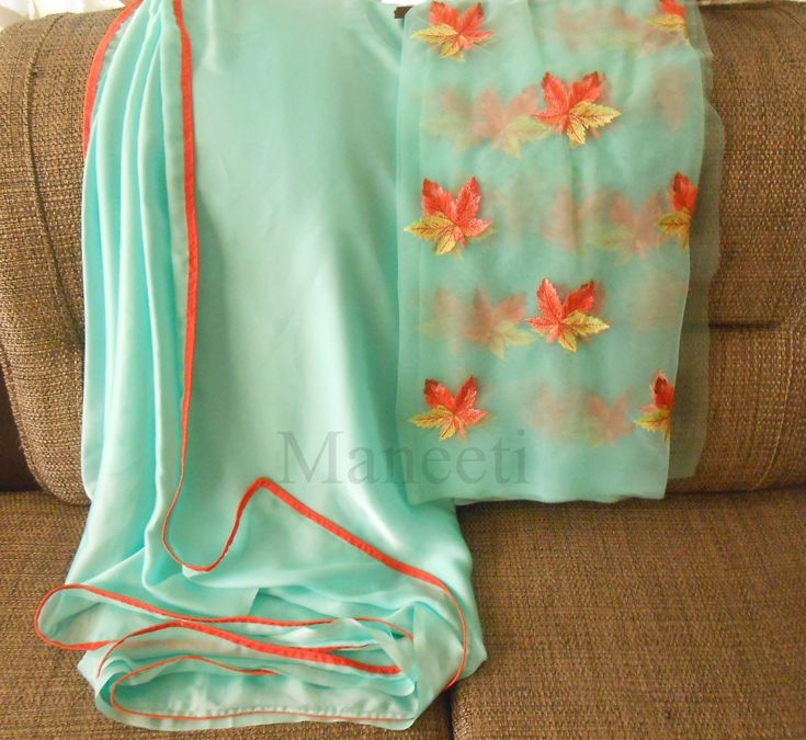 Maple Leaves embroidery Blouse in Pastel Blue Saree..Whatsapp Maneeti 9539820656  #maneeti #mapleleaves #leaf #pastel #crepe