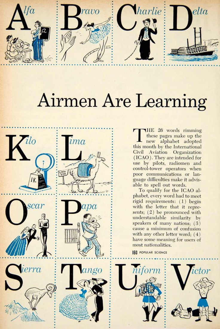 1956 ad about the airmen's alphabet for pilots that was developed by the international Civil Aviation Organization  #Planelingo #Alphabet