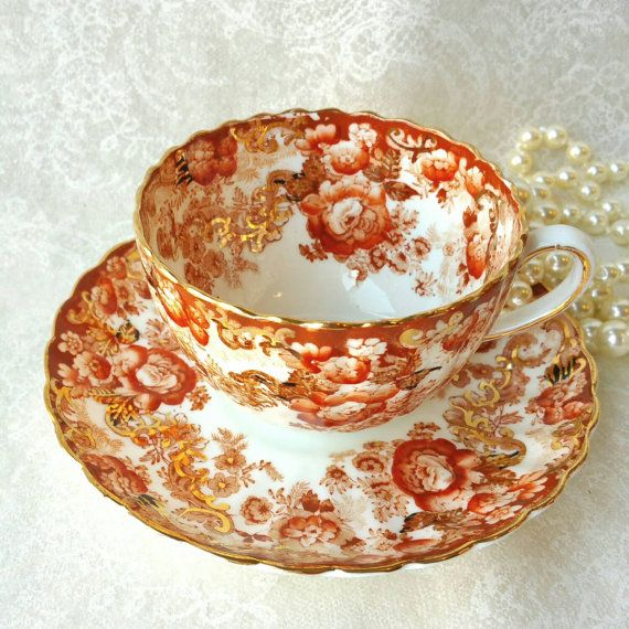 RADFORDS FENTON China Beautiful Victorian Pattern Tea Cup and Saucer Dark Amber and Orange teacup c1928-1938