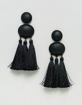 ASOS Statement Matte Black Tassel Earrings - Black
