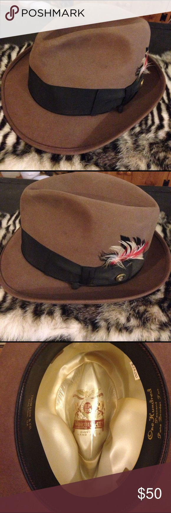 Worth Hats Mocha Brown Beaver Fur Fedora 6 7/8 Worth Hats Custom Made Mocha Brown Beaver Fur Fedora size 6 7/8! Vintage 1960s! Great shape! Please ask questions and bundle! Worth Hats Accessories Hats