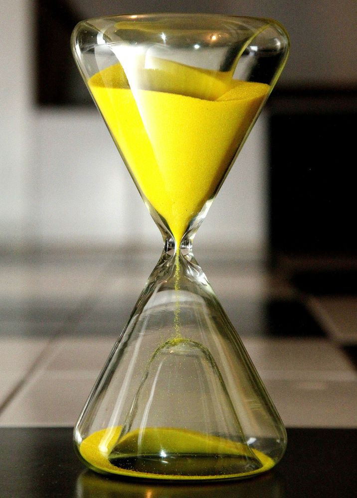 ⌛ NEW LEMON YELLOW SAND ODD SHAPE CONCAVED HOURGLASS TIMER CLEAR GLASS. 15 min ⌛
