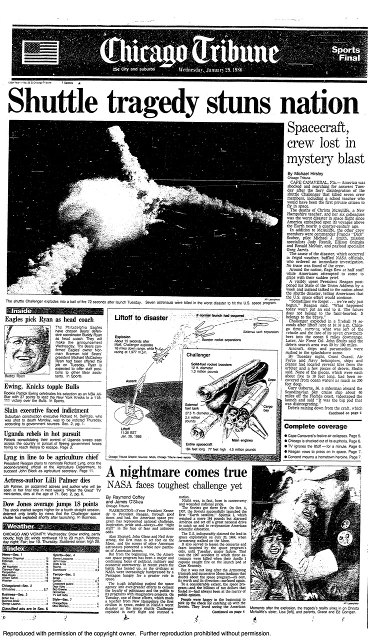 Space shuttle Challenger explosion, 1986. | the 80's ...