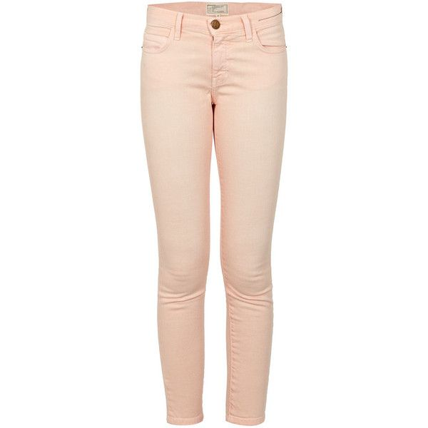 Peach Stiletto Jeans (1385985 BYR) ❤ liked on Polyvore featuring jeans, peach jeans and pink jeans