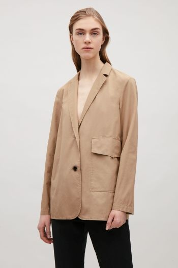 COS image 1 of Tailored canvas jacket in Khaki Beige