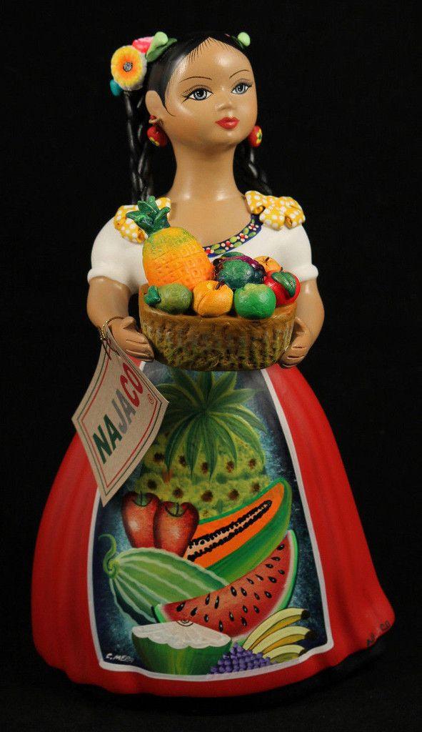 Lupita Doll Fruit Seller Red Dress Ceramic Mexican Folk Art